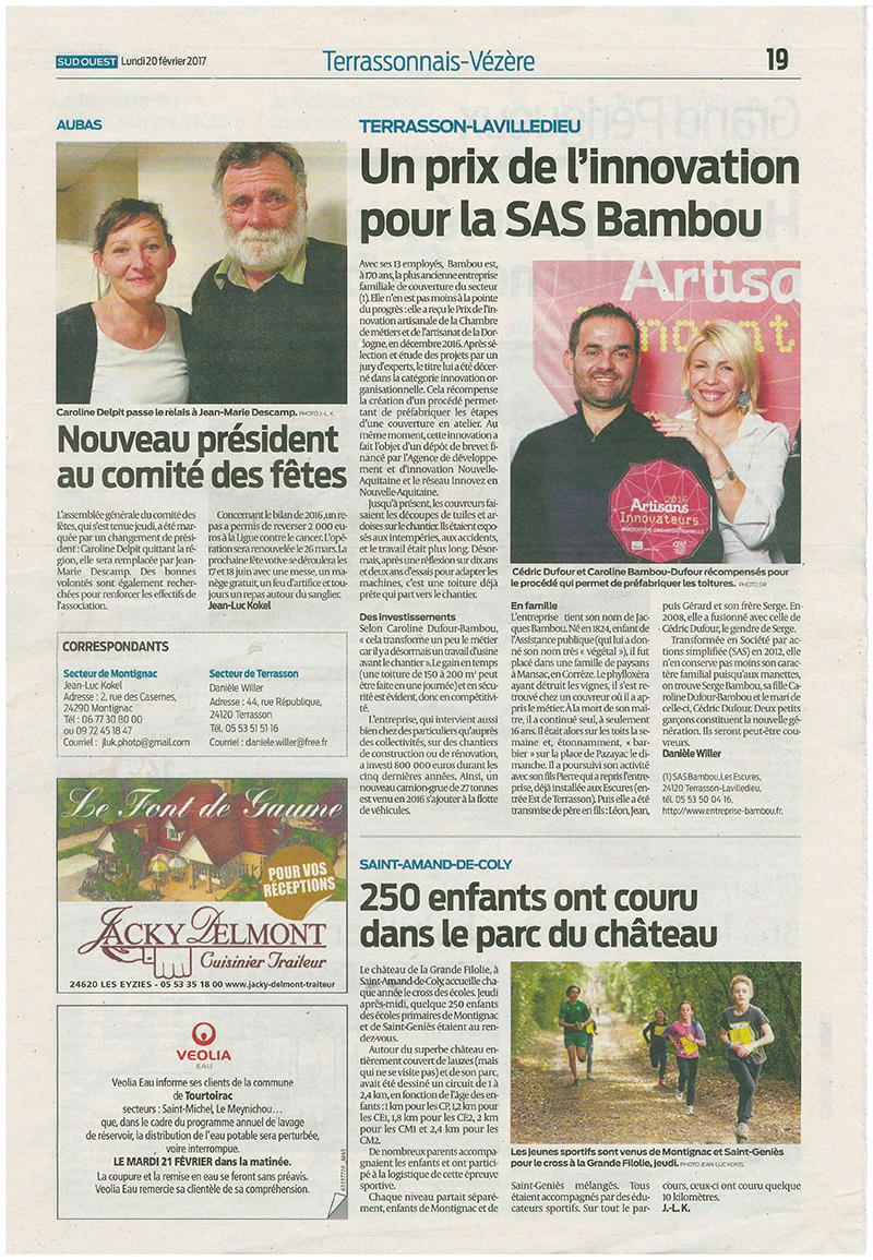 Un prix de l'innovation pour la SAS Bambou journal Sud Ouest